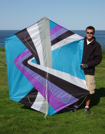 Next to my 6.5' tall Rokkaku kite in Lubec, Maine.