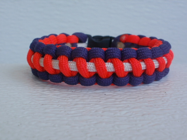Three color cobra stitched bracelet.