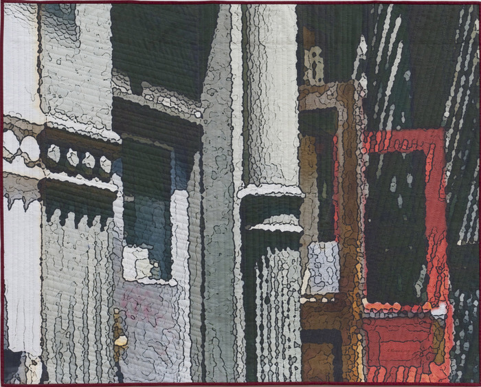 "Soft City: Red Door    40""x50""   hand quilted mixed media...$2,700 pledge"