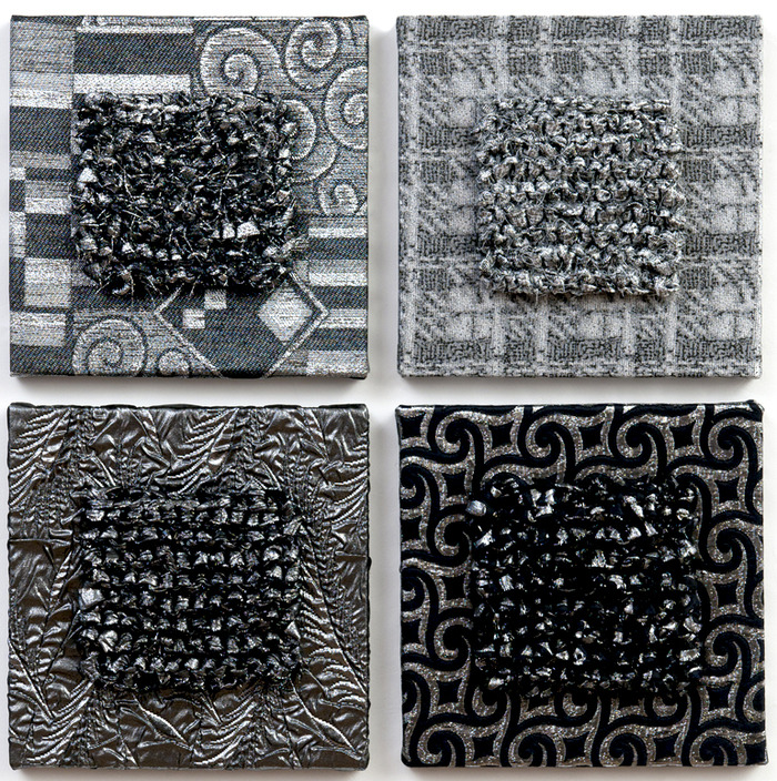 "Meditations 1- 4,  bas relief, metallic fabrics, each panel 10""x10""x1""...pledge $175 each"