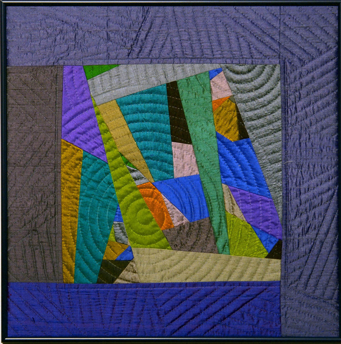 "Impromptu #3  18""x18"" framed,  pieced silks, hand quilted....$500 pledge"