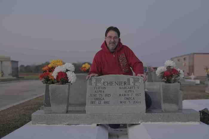 Tom Uhl at Clifton Chenier's grave