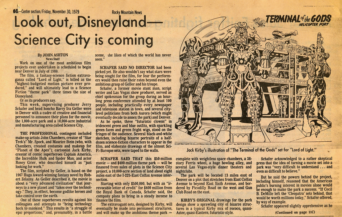 Jack Kirby design in a 1979 article heralding Science Fiction Land