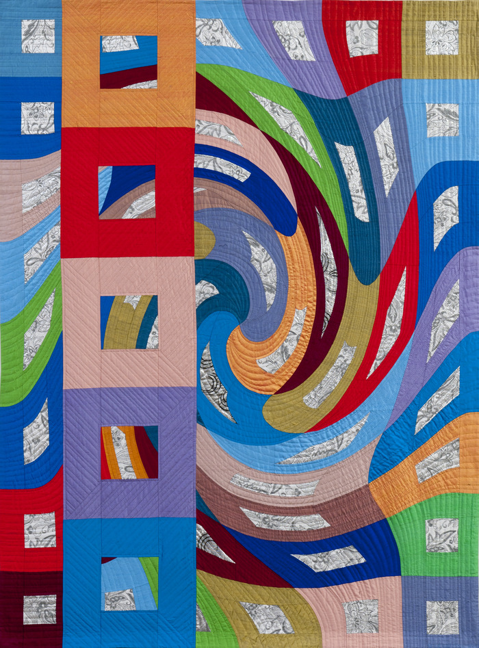"""Disturbances 10""   79""x59""   pieced silks, hand quilted ($9,000 pledge)"