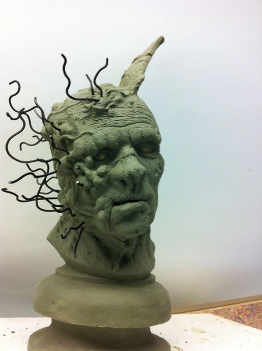 Front view of Undead bust - sculpture almost complete!