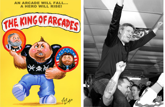 Online promotional poster for The King of Arcades (left).  On the shoulders of Giants: Richie Knucklez and Steve Wiebe from The King of Kong: A Fistfull of Quarters (right).
