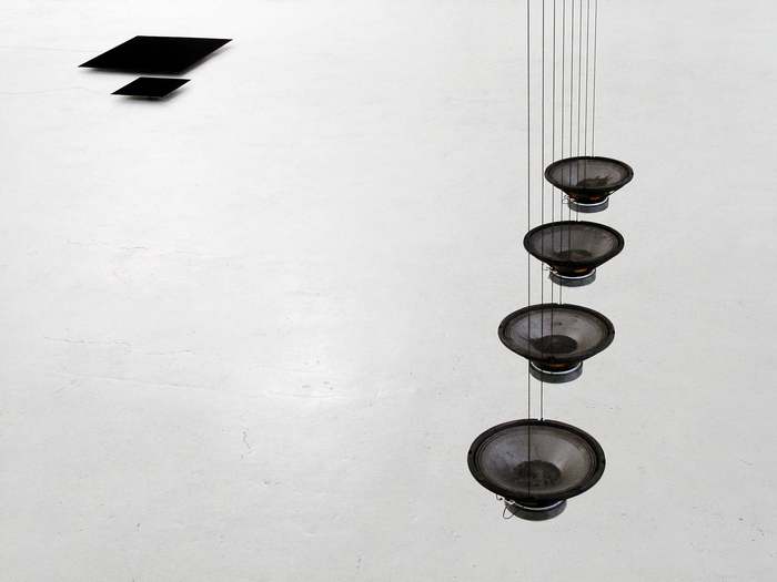 "Rolf Julius, ""2 x black"", 2001 [left]; ""Volcanoes (hanging)"", 2001 [right]"