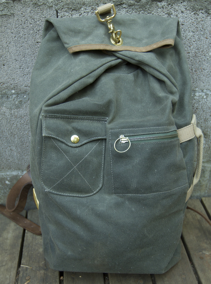 Waxed Canvas Military Duffle Backpack in Olive with Brown Trim