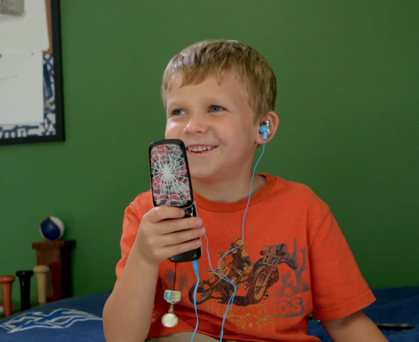 Not only a phone, Pipsqueak is also a portable music player with long battery life that stores hundreds of songs.  The 3.5mm headset jack works with all 3.5mm headphones and speakers.  (As demonstrated by our 7-year old, Lincoln)