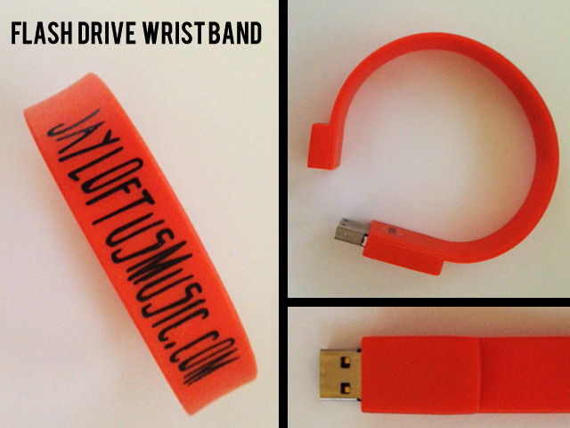 Flash Drive Wristband complete with Jay's New EP.