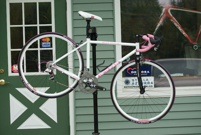 This road bike was built and raffled for breast cancer research.