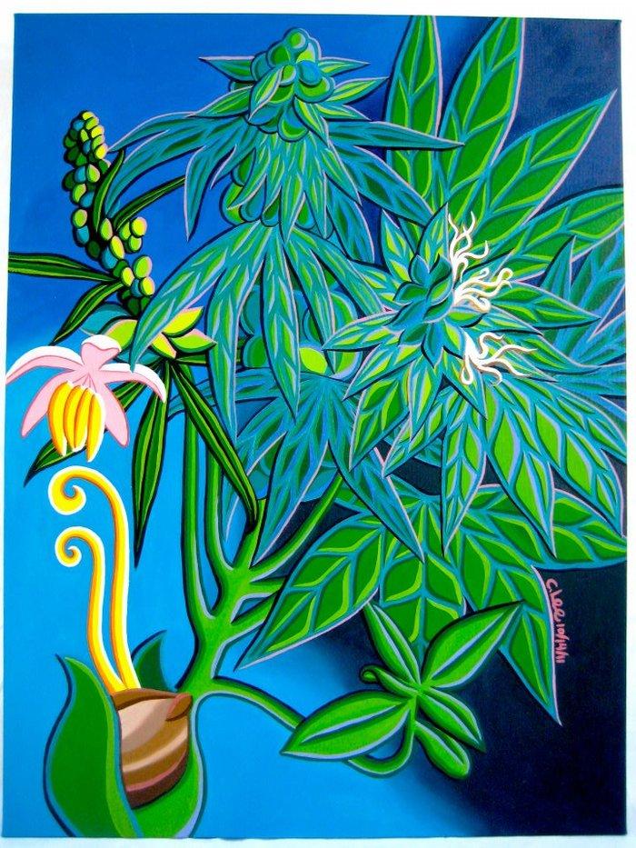 Canna Botanical (3X4ft oil paints on canvas)