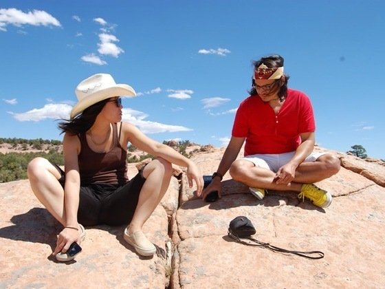 XLXS Partner Taka Sarui and Navajo Artist Thomas Issac on site in Shonto, Arizona.