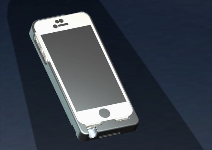 CAD drawing showing the front of the iPhone 5 iExpander