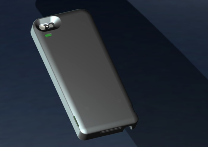 CAD drawing showing the rear of the iPhone 5 iExpander