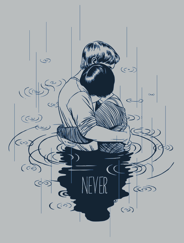 Our NEVER t-shirt, designed by the amazing Stasia Burrington!