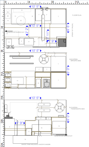 Blueprints of Little Italy on Wheels' kitchen