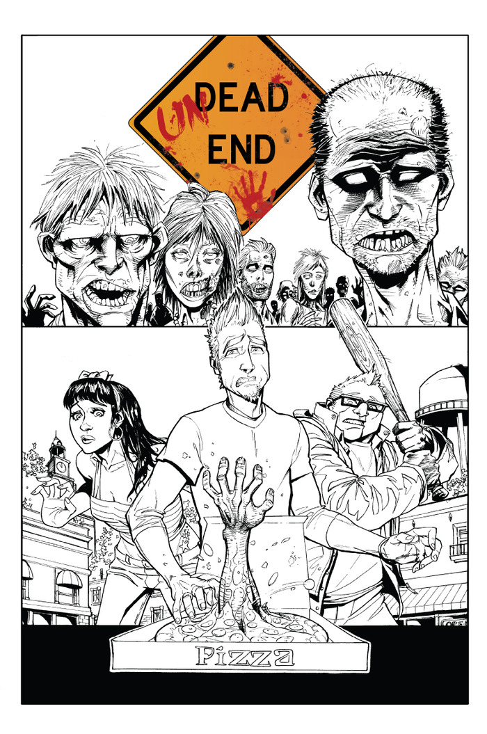 Black and White preview comp of UnDead End #1's cover.