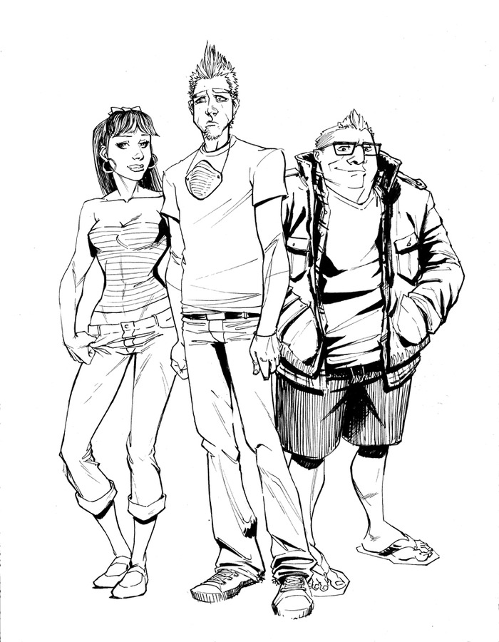 Early concept sketch of the three main characters, Molly, Dean and Nolan.