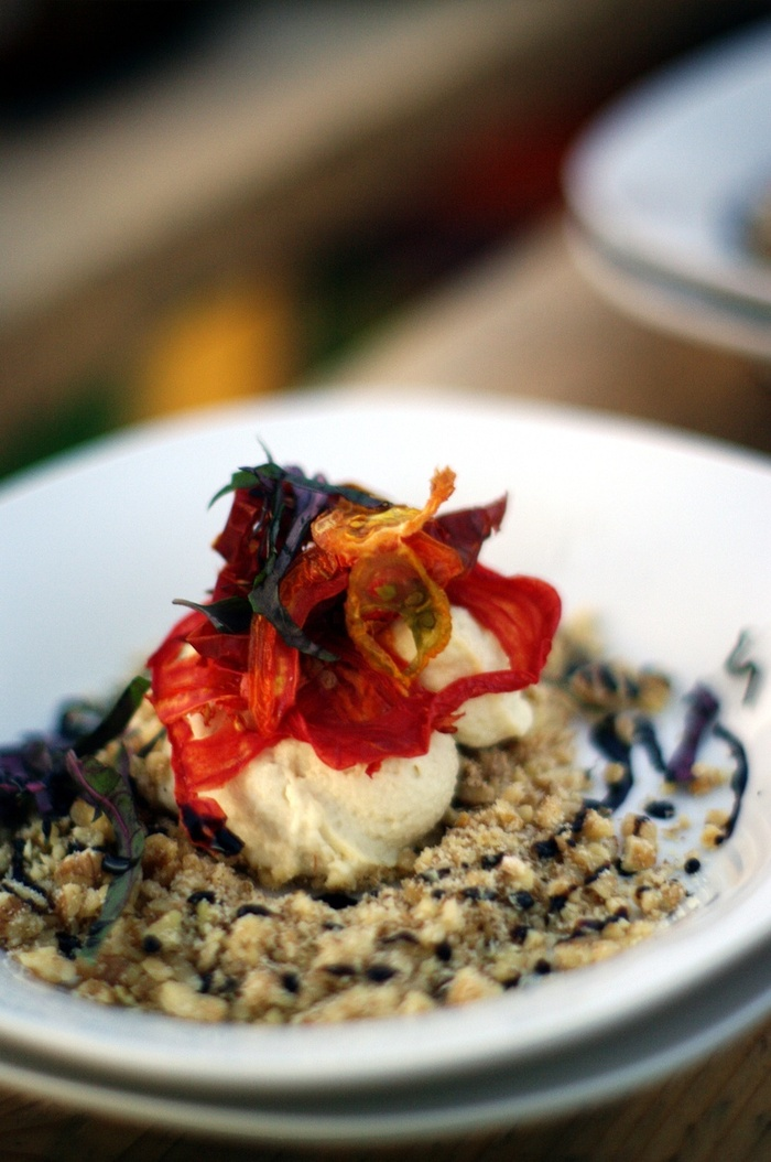 dried heirloom tomatoes, purple basil, ricotta, garlic-walnut crumble, strawberry balsamic reduction. PHOTOGRAPHED BY KARPOV WRECKED TRAIN