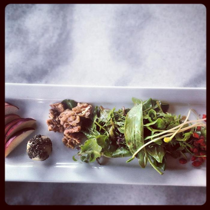 The Fall Gala: mixed greens, lemon-thyme vinaigrette, goji berries, apples, maple-walnuts, aged black pepper tree nut cheese, sunflower sprouts