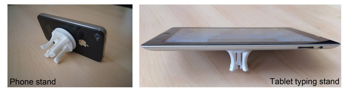 Makes a great phone stand for lanscape or portrait use or tablet typing stand