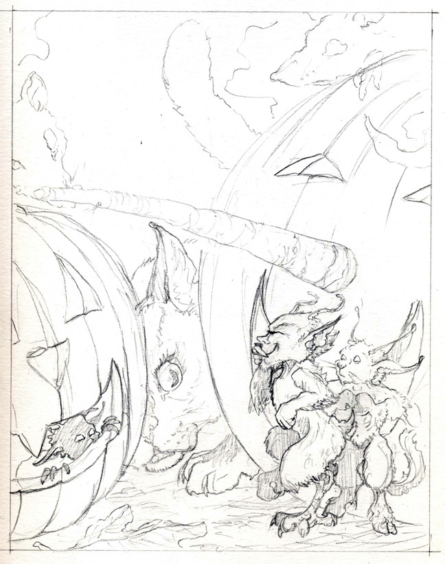 "Pencils for the color illustration ""...and watch the goblins in the yard,"""
