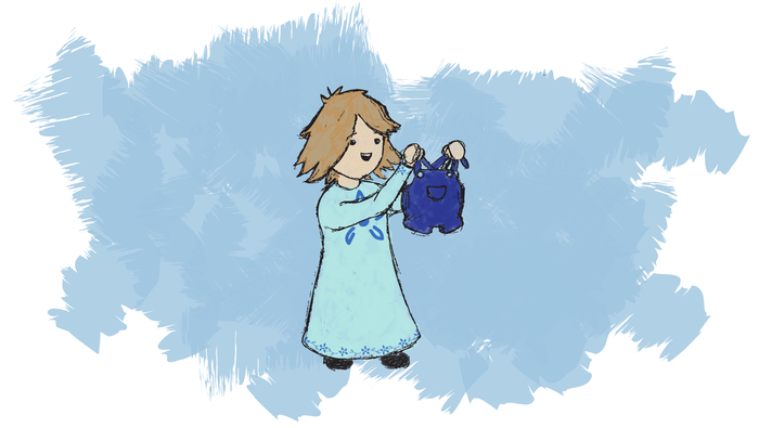 """She dresses little Susie in flowers of blue. Susie holds up overalls 'And Teddy too!' """