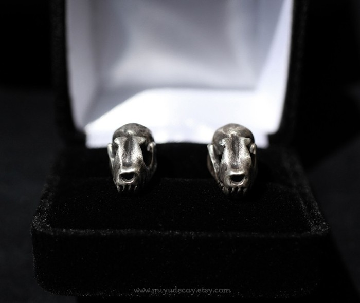 Sterling Silver Bat Skull Cufflinks by MiyuDecay