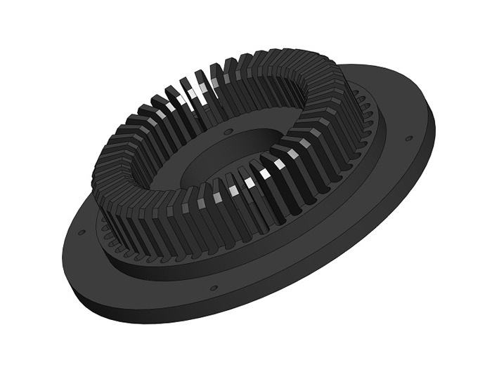 CAD Rendering of Production Internal Heat Sink.  Anodized Black for Optimum Thermal Efficiency.  Serves as Mount for Optical Waveguide Assembly.  Designed for Both Performance and Aesthetics.