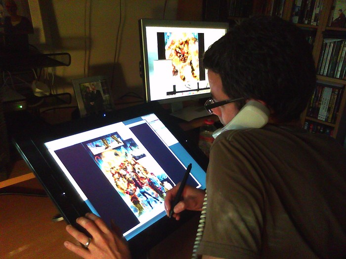 "Steve coloring ""The Fury of Firestorm"" for DC Comics"