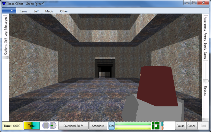 After several rounds of movement, Green gets to the big room in the middle of the map.  The lighting's much better here, mainly because the ceiling opens to the open air with daylight level illumination.