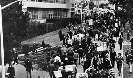 Students demonstrating at SF State, 1968