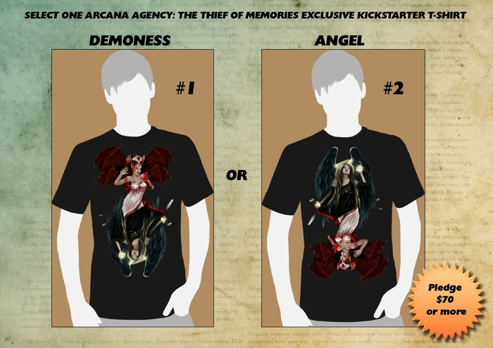 ANGEL OR DEMONESS: Arcana Agency t-shirt of your choice.