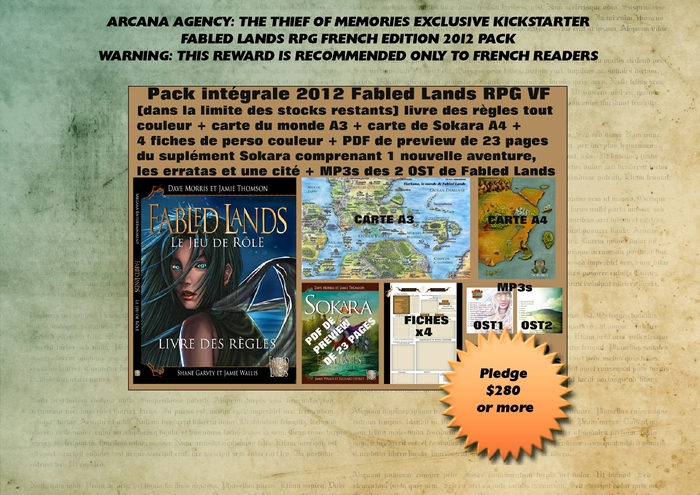 CROSS-CONTINENTAL ENGAGEMENT: All our materials from another of our projects, the French edition print Fabled Lands RPG.  Just read your screen for the contents.