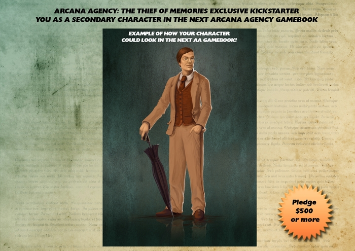 ARCANA AGENT (MAYBE): This could be you!  Commission us to make you a character in the world of Arcana Agency.  We will give you a graphic, a backstory, and an actual place as a secondary character in any sequel!