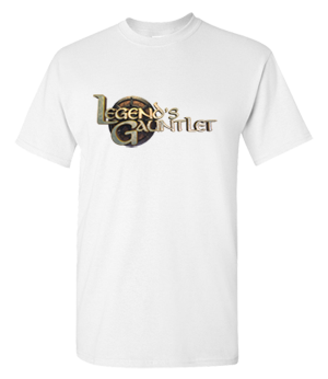 Full color Legend's Gauntlet logo on white tee - Reward