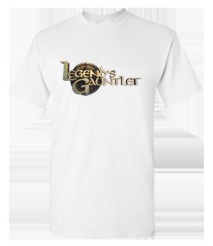 Full color Legend's Gauntlet logo on white tee - Reward