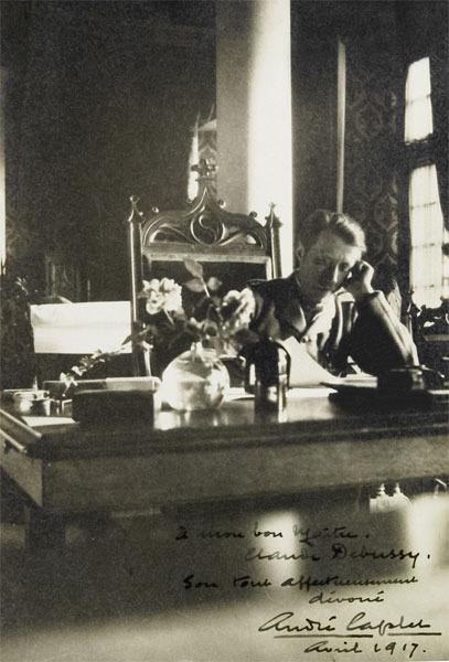 Caplet at his desk (inscription R corner): To my great teacher Claude Debussy, affectionately and devoted yours always André Caplet