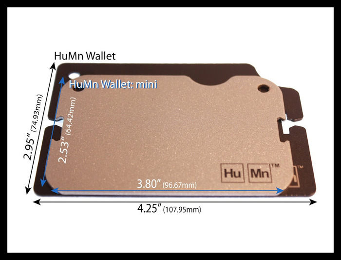 "The HuMn Wallet: Mini measures 2.53"" x 3.80"" (64.36mm x 96.71mm)    Weight:0.10 grams"