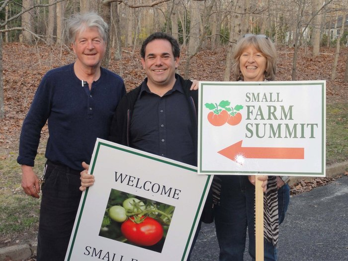 Edible School Garden pioneers Jon Snow (Hayground), Bryan Futerman (Springs Seedlings) and Annie Bliss (Co-founder of EECO Farm) at the Small Farm Summit.