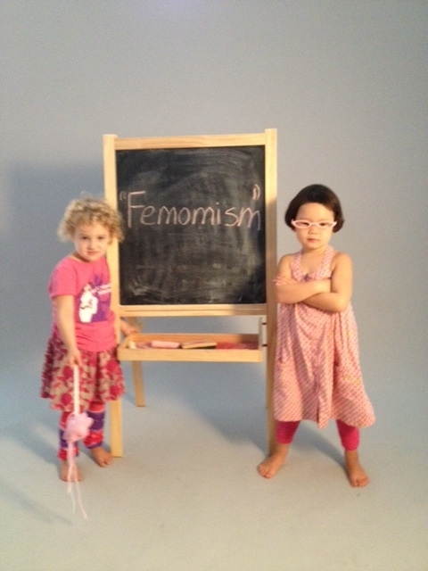 "Daughters Lucy and Scarlett use their magic ""femomist"" wand in our Kickstarter video!"