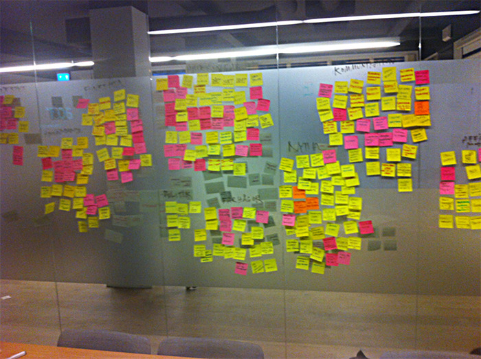 Post-it wall from the prototype process