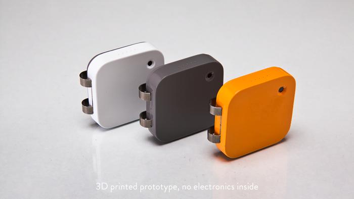 The Memoto camera comes in three different colors: Arctic White, Graphite Grey and Memoto Orange