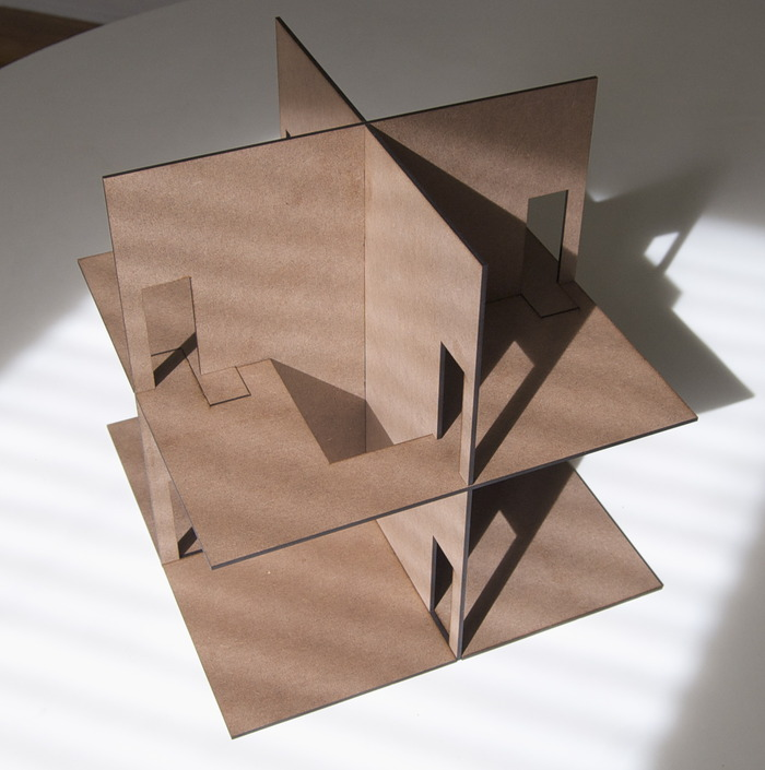 House structure made of laser-cut hardboard
