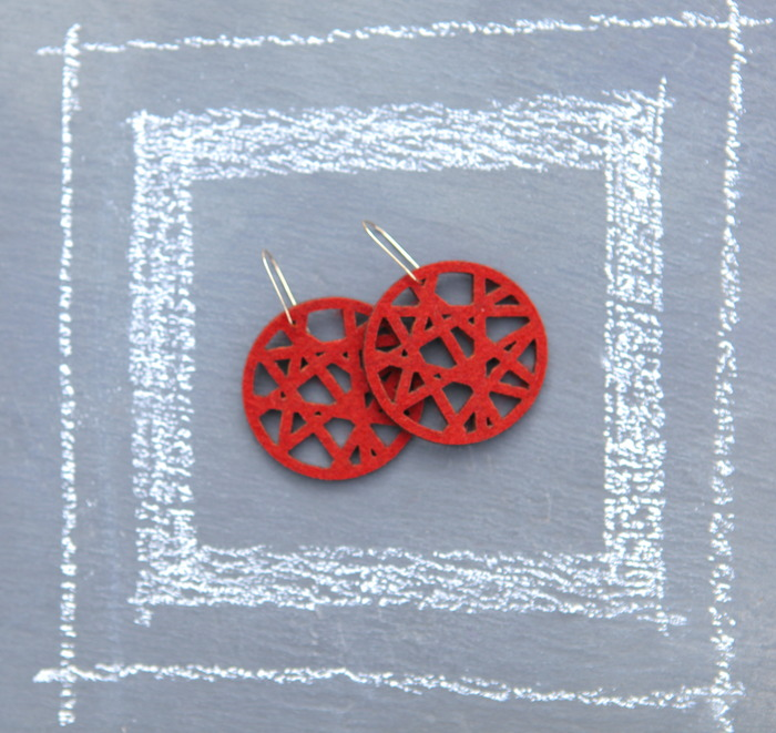 Red Felt Laser Style Earrings