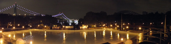 A light rain falls on the empty Astoria Park Pool in September.
