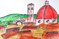 one of the Duomo sketches 22 x 30 watercolor, mixed media on watercolor paper