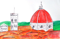 another one of the Duomo sketches 22 x 30  mixed media on watercolor paper