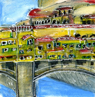 one of the Ponte Vecchio sketches 8x8 mixed media on watercolor paper